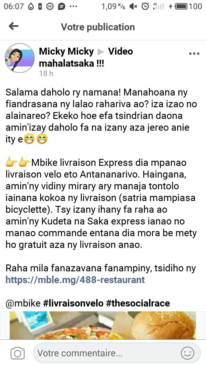 Livraison à vélo à Tana : Mbike Livraison Express se met à la livraison de repas