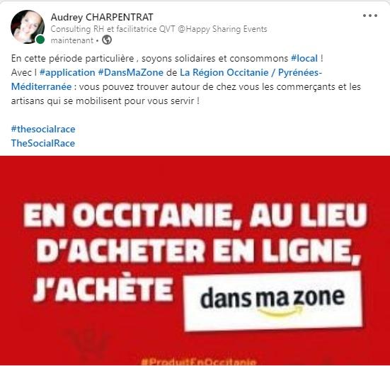 Application DANSMAZONE , LA REGION OCCITANIE