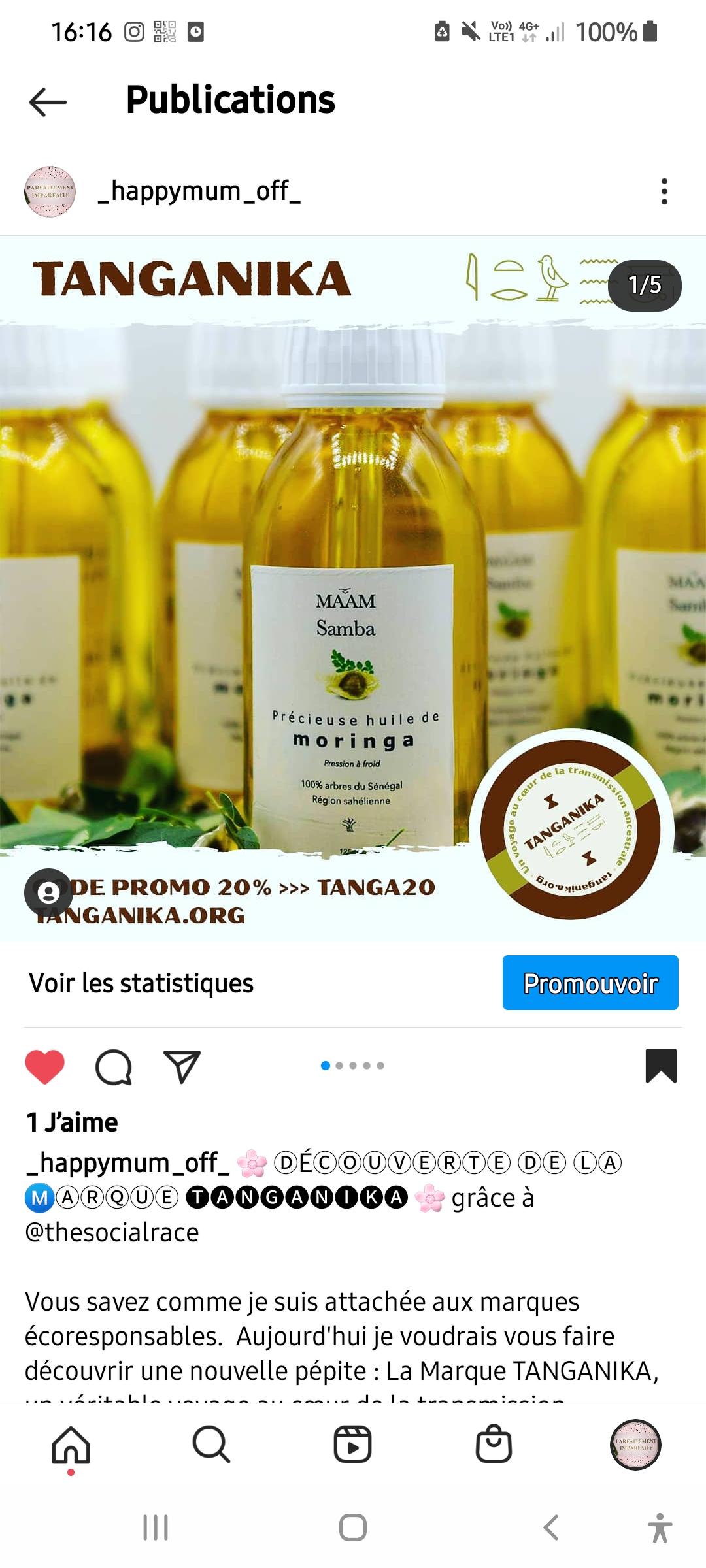Promotion de la marque Tanganika beauté